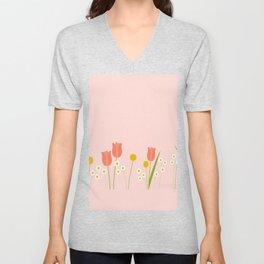Pale Pink Light Orange Spring Flowers Unisex V-Neck