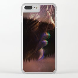 Neon Kiss Clear iPhone Case
