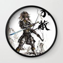 Apocalyptic Samurai Gunslinger Girl with calligraphy Wall Clock