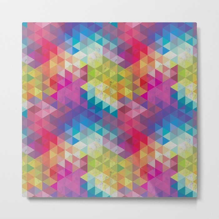 Geometric Fractal Triangles Rainbow Metal Print