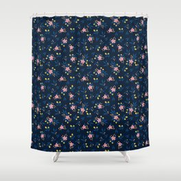 Pink Florals on Blue Shower Curtain