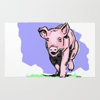 running Area & Throw Rugs featuring Running PIG by ARTito