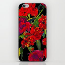 Inky Tulips Black iPhone Skin