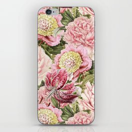 Vintage & Shabby Chic Floral Peony & Lily Flowers Watercolor Pattern iPhone Skin
