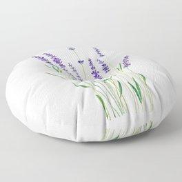 purple lavender watercolor painting Floor Pillow