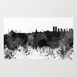 Istanbul skyline in black watercolor Rug