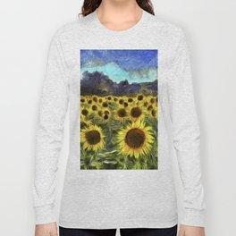 Sunflower Fields Of Summer Van Goth Long Sleeve T-shirt