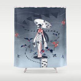 Kimono Birds Shower Curtain