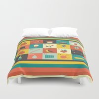alphabet Duvet Covers featuring Illustrated Alphabet by Ariel Wilson