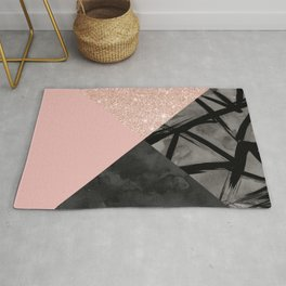 Modern pastel pink black strokes watercolor color block Rug