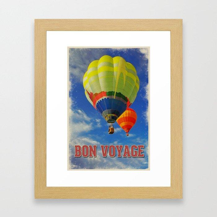 Vintage style poster Bon Voyage Framed Art Print