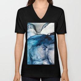 White Sand Blue Sea - Alcohol Ink Painting Unisex V-Neck