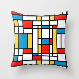 Tribute to Mondrian No2 Throw Pillow