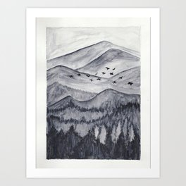Forest Mountain Range Birds Flying Past Watercolor Painting Art Print