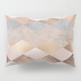 Copper and Blush Rose Gold Marble Argyle Pillow Sham