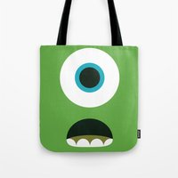 mike wrobel Tote Bags featuring Mike Wazowski by Adrian Mentus