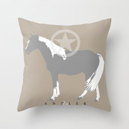 Horse with Star - Grey and White Throw Pillow