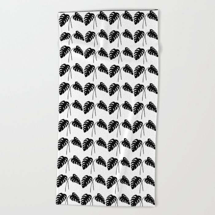 Tropical Monstera Leaves Black on White Beach Towel