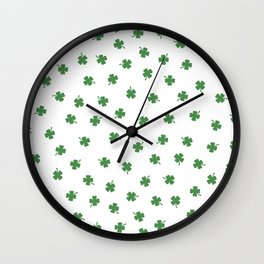 Green Shamrocks White Background Wall Clock