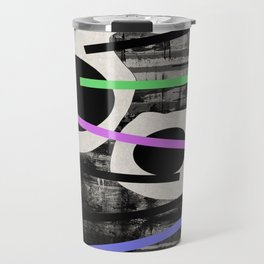 PENSIVE - Eclectic blend of geometric shapes, pastel colours, and black and white textures Travel Mug