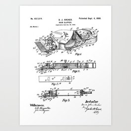Barber Hair Clippers Patent - Barber Shop Art - Black And White Art Print