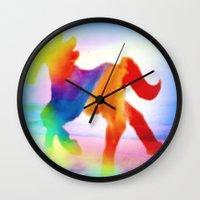 sea horse Wall Clocks featuring Sea Horse by Laura Santeler