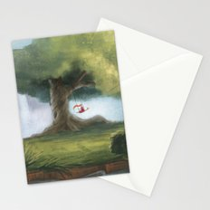 Swinging under a big tree Stationery Cards