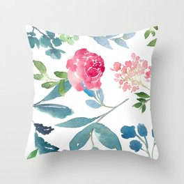 Floral on White Throw Pillow