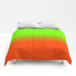 Neon Green and Neon Orange Ombré  Shade Color Fade Comforters