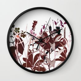 Maroon Flowers Wall Clock