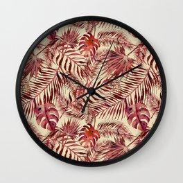 Watercolour Palm Leaf III Wall Clock