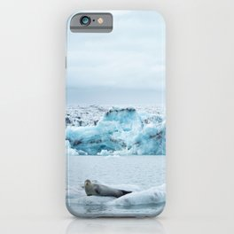 Seal relaxing on an iceberg in Jökulsárlón glacier lagoon | Travel photography Iceland iPhone Case