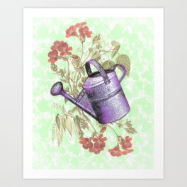 Floral with Watering Can Art Print