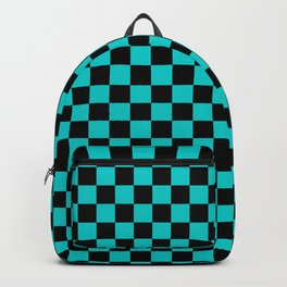 Black and Cyan Checkerboard Backpack