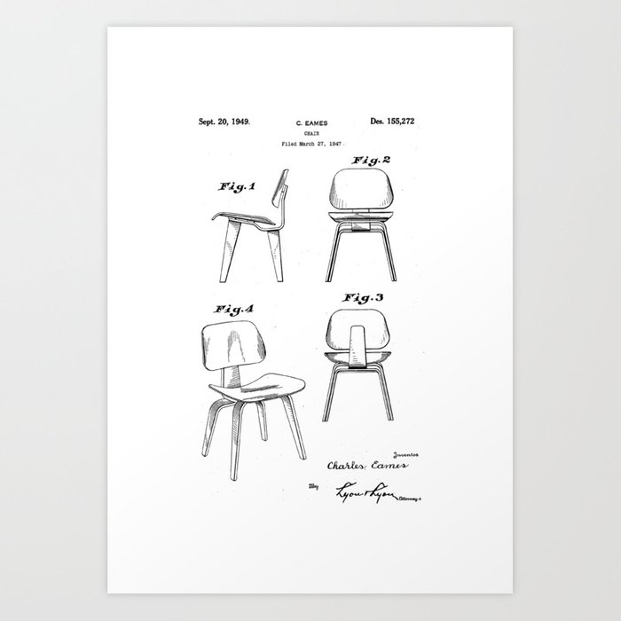 eames molded plywood lounge chair original patent blueprint
