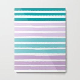 Stripes minimal pattern lilac mint turquoise painted stripe pattern nursery art Metal Print
