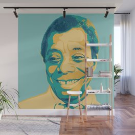 James Baldwin Portrait Teal Gold Blue Wall Mural