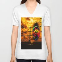 sail V-neck T-shirts featuring Under sail  by Walter Zettl