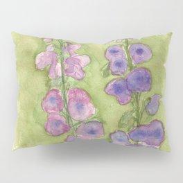 Hollyhock Foxglove Watercolor Muted Tones Pillow Sham