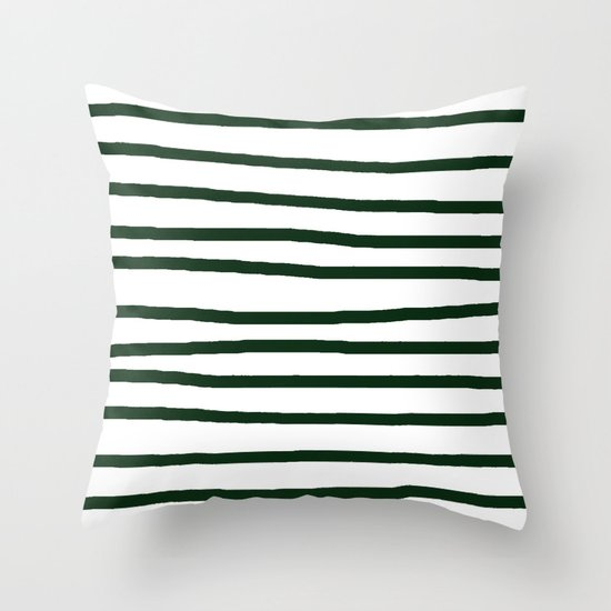 Simply Drawn Stripes in Pine Green Throw Pillow