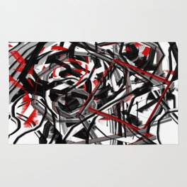 Abstract in Gray, Red, White, and Black Rug