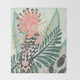 Hoopoe Bird Throw Blanket