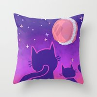macaroon Throw Pillows featuring Macaroon Moon by Noirabbit