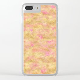 Gold Glitz Pink Watercolor Clear iPhone Case