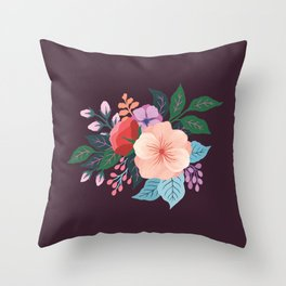 July florals on Plum Throw Pillow