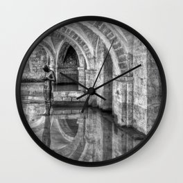 Winchester Cathedral Crypt - Black and White Wall Clock