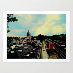 Waiting for a Train In Greensburg Art Print