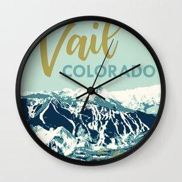 Vail Ski Light Blue Wall Clock
