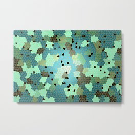 Turquoise Mosaic small pattern Metal Print