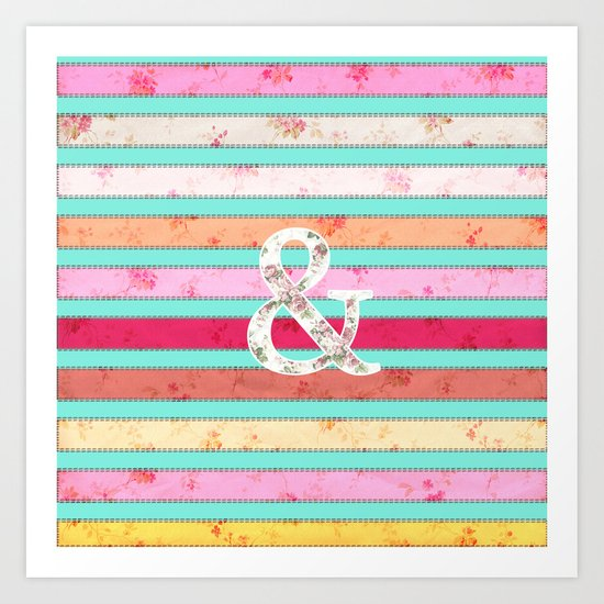 And...  Bright Whimsical Floral Ampersand Stitches Stripes Art Print